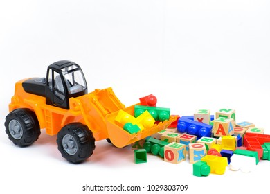 Toy tractor on white background