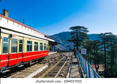Toy train Kalka-Shimla route, standing on Shimla railway station of the hill state Himachal Pradesh, India.