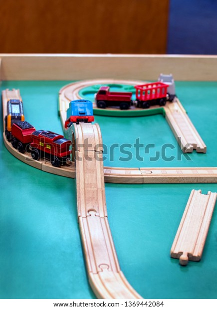 Toy Train Wood Tracks On Small Stock Photo (Edit Now) 1369442084