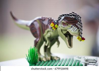A toy T-Rex  w/ a ferocious roar