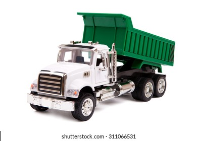 toy truck, dump truck on white background