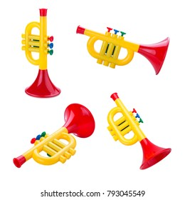 toy trumpet isolated on white background