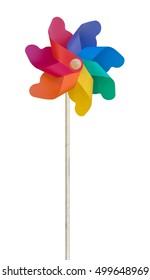Toy windmill, pinwheel, Isolated on white. Plastic.