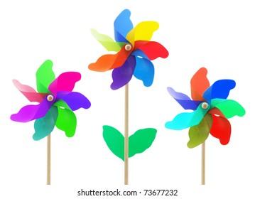 Toy Windmills on White Background
