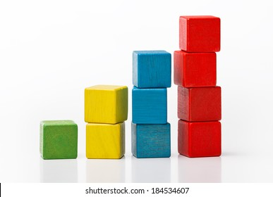Toy wooden blocks as increasing graph bar, infographic diagram, chart over white background