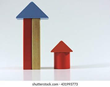 Toy Wooden Blocks, Multicolor Building Construction on White Background