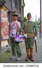 TOYAKO, JAPAN -25 JUN 2017- People dressed in cosplay costumes of their favorite characters for the Toyako Manga Anime Festa festival held in Toyako.