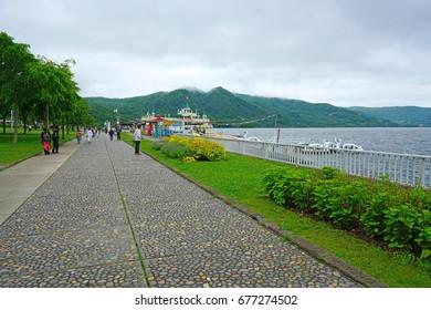 TOYAKO, JAPAN -25 JUN 2017- The town of Toyako, in the Shikotsu-Toya National Park, is located along the caldera Lake Toya. It was the location of the 2008 G8 Summit in Hokkaido, Japan.
