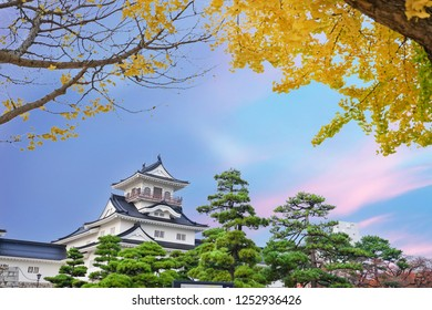 Toyama Castle with Twilight sky and Ginkgo leaf in the Autumn season in Toyama city, Japan.