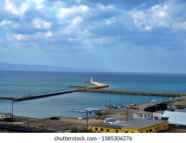 Toyama, Japan - April 16 2019: Harbor view  Toyama City has a lighthouse that is extended to the sea.