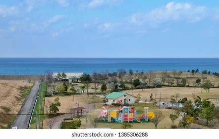 Toyama, Japan - April 16 2019: Community and playground located on the coast in Toyama, Japan.