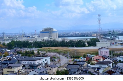Toyama, Japan - April 16 2019: Community and factory located on the coast in Toyama, Japan.