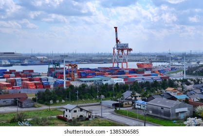 Toyama, Japan - April 16 2019: Container placed in Toyama  Industrial city next to the sea of ​​Japan.