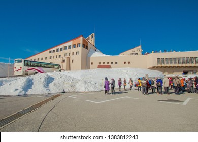 TOYAMA , JAPAN - April 20, 2019:Murodo Bus Terminal of a trolleybus station in Tateyama Kurobe alpine is one of the most important and popular natural place in Toyama Prefecture, Japan.