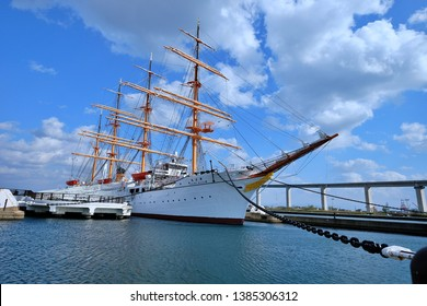 Toyama, Japan - April 30 2019: Giant sailboat parked at the pier  Visitors can visit Kaiwomaru Park in Toyama Japan.