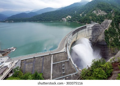 Toyama, Japan - July 30, 2015: Kurobe Daiyon Dam in Tateyama Kurobe Alpine Route. The construction project of this dam was a difficult engineering feat and claimed the lives of 171 people.