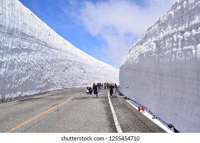 Toyama, Japan - June 1, 2018: Many tourists came to visit Murodo snow wall, a huge and famous snow wall in Toyama, Japan.