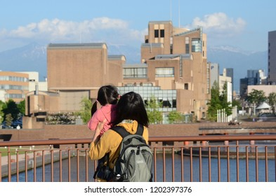 TOYAMA, JAPAN - MAY 14,2015: Japanese local people and lifestyle in city of Toyama with architecture building style, Toyama