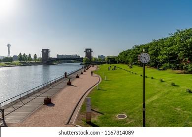 TOYAMA, JAPAN - MAY 26, 2018: Fuganungakansui Park in Toyama, Japan. Toyama is the capital city of Toyama Prefecture
