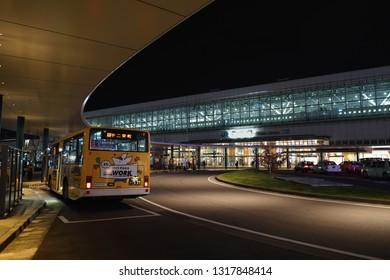 TOYAMA, JAPAN - NOVEMBER 11, 2018: bus terminal stop in front of JR Toyama Station.