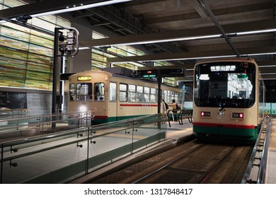 TOYAMA, JAPAN - NOVEMBER 11, 2018: Tram in the Toyama station. Tram to travels around in Toyama central district, Toyama, Japan.