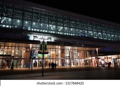TOYAMA, JAPAN - NOVEMBER 11, 2018: In front of JR Toyama Station (Railway station) in Toyama City, Japan.