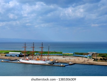 Toyama,Japan - April 30 2019: Giant sailboat parked at the pier  Visitors can visit Kaiwomaru Park in Toyama Japan.
