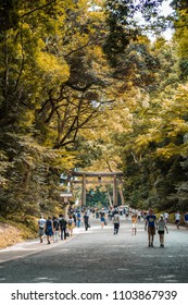 Toyko / Japan - 08.17.2017: People are walking in the Yoyog park.