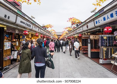 Toyko, Japan - 13 October 2016: Tourists walk on store street in Senso ji shrine. the history culture Heritage in Asakusa district, Tokyo, Japan