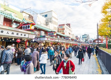Toyko, Japan - 28 NOV 2016: Tourists walk on Nakamise Dori in Sensoji shrine. Sensoji temple at Japan.