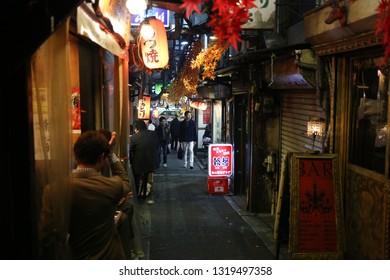 TOYKO, JAPAN - DECEMBER 05, 2016: Unidentified japanese japanese people walking the restaurants alley in the Shinjuku area in Toyko, Japan