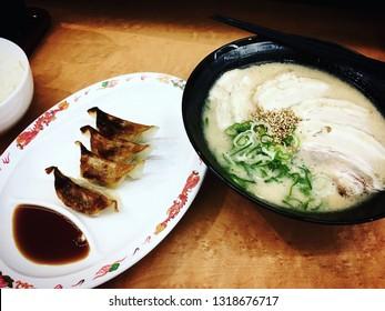 Toyko, Japan - December 16, 2016: Ramen dish and Gyoza display in a restaurant in Toyko, Japan