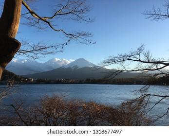 Toyko, Japan - December 16, 2016: Mt. Fuji view from the Kawaguchi ko city in Toyko, Japan