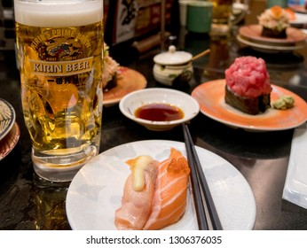 TOYKO, JAPAN - JANUARY 22, 2019 :  Sushi and beer in a Japanese restaurant .