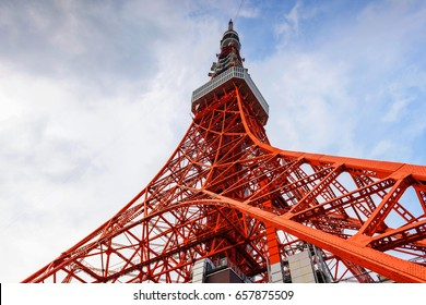 Toyko Tower against blue sky by ant eye view, Japan