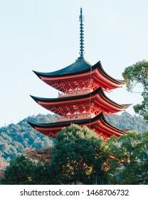 Toyokuni Shrine, a 5-story pagoda on Itsukushima island.