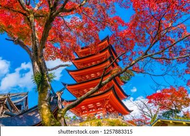 Toyokuni Shrine five-story pagoda at Miyajima, Hiroshima, Japan