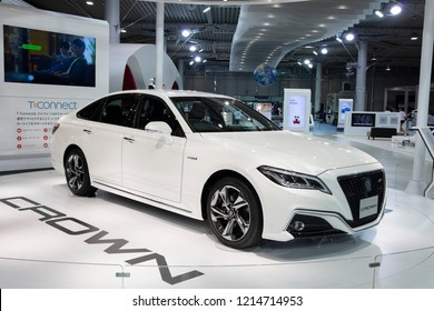 Toyota City, Japan,-June 26, 2018:Crown RS Advance Hybrid car is a brand which produced by Totota in Japan. It is currently a line of mid full size luxury sedans primarily aimed at the Japan and Asia.