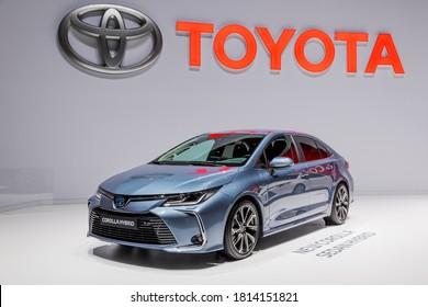 Toyota Corolla Hybrid car showcased at the 89th Geneva International Motor Show. Geneva, Switzerland - March 5, 2019.