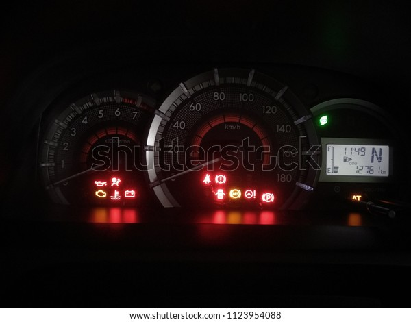 Toyota Dashboard Warning Lights Just After Stock Photo (Edit Now