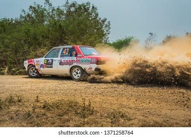 Toyota Dx Corolla ke 70,f2thailand rally championship Of Lampang in Thailand  31-3-2019.