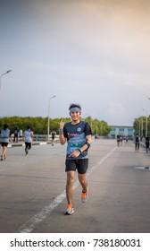 TOYOTA MARATHON, THAILAND 10 October 2017: Toyota Marathon runners on the streets of the city on October 10, 2017 in  Samut Prakan, Thailand.