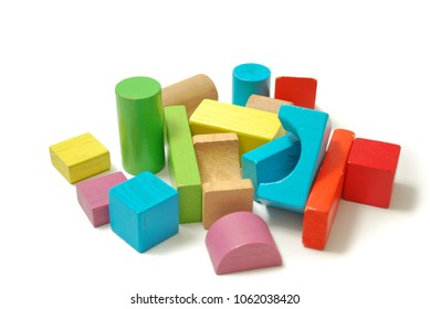 Toys blocks, multicolor wooden bricks, children colorful building game pieces of kids organize toy. Flat lay and isolated white background