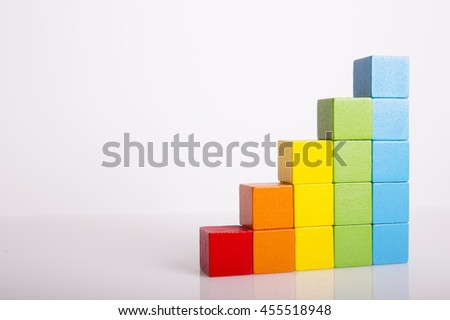 Toys Blocks Step Stair, Building Bricks Over White Color Background, Multi  Color Wooden Ladder