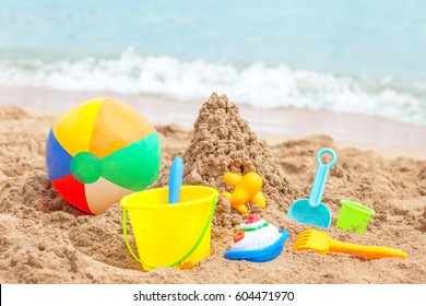 toys for childrens sandboxes against the sea and the beach