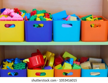 Toys in colored boxes.