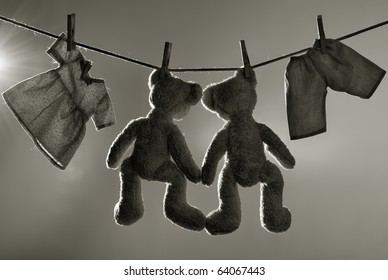 Toys on clothes line