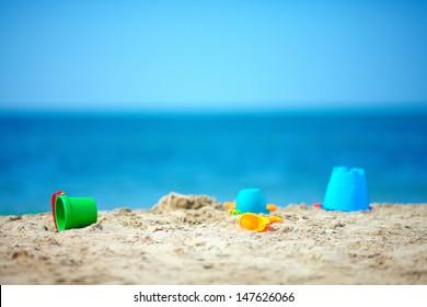 toys on summer beach
