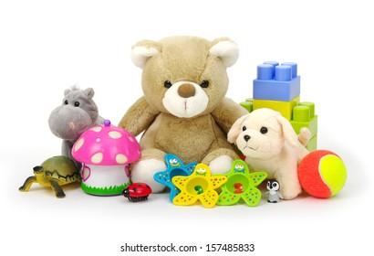 toys on white background
