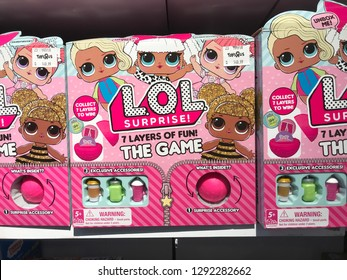 Toys r' us, Gurney plaza, Penang, Malaysia - 08 January 2019 - LOL Surprise toys glittering colourful packaging on store shelf